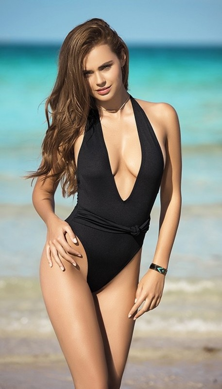 Simple Plunging One Piece Swimsuit