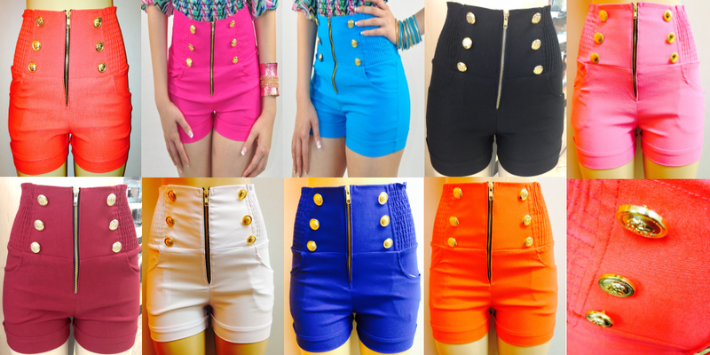 High Waisted Colored Shorts
